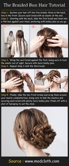 Braided Bun Hair Tutorial: love the detailed, yet easy instructions & visuals! This is a great look for Nursing Students with long hair to corral-up for clinicals.
