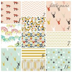 Nursery starter set in pink, mint, gold  gorgeous woodland prints! Choose your favorite designs for a crib sheet and changing pad cover.