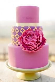 3-tier pink and purple fondant wedding cake with gold detail and huge pink peony; colorful and romantic wedding cake #pink #purple #fondant #gold #peony