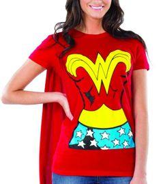 Plus+Size+T-Shirt+Wonder+Woman | Wonder Woman Graphic T Shirt w Cape L Large Womens Adult Costume Shirt ...