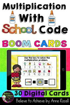 These 30 fill-in-the-blank digital task cards on the BOOM™ Learning website were designed to help students practice their multiplication facts for the 1's to 12's with a fun school code. These digital task cards would be great on a laptop, desktop, Chromebook, tablet, or any other mobile device that can access the internet. They can even be used on your Smart Board.