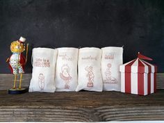 Circus Favor Gift Bag Stamped Muslin Baby Shower Childrens Party Bag Rustic Nursery Theme Set of 10 on Etsy, $15.00