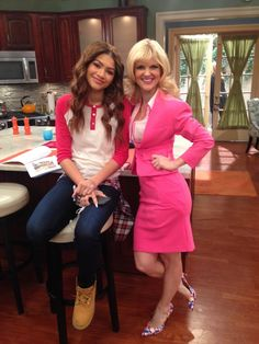 Zendaya and Arden on the set of 'KC Undercover'