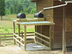 outdoor wash stall with two rainwater supplied, solar-heated, gravity-fed wash stall. Horse Shelter, Goat Shelter, Future Farms, Horse Property, Tallit, Dream Barn, Horse Stalls, Barn Plans, Horse Farms