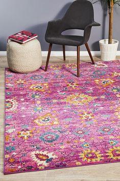 Babylon 210 Fuchsia Rug - Online Only - Fuschia - Matt Blatt Floor Rugs, Rugs On Carpet, Pink Rug, Eclectic, Large Floor Rugs, Eclectic Rugs, Rugs, Modern Rectangle, Rugs Online