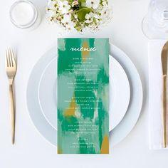 Items similar to Chic Abstract Shades of Green Wedding Menu // DIY DIGITAL Menu // Wedding Menu, Whimsical Wedding, Modern Wedding on Etsy Seating Plan Wedding, Wedding Table Numbers, Wedding Menu, Wedding Planning, Digital Menu, Whimsical Wedding, Green Wedding, Shades Of Green, Wedding Details