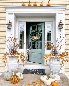 Festive fall porch by Home on fern hill. Added foliage to her gorgeous planter urns, beautiful sea pine Benjamin Moore door and weathered copper outdoor wall lights. Click to see more information on them. #falldecor #frontporchfalldecorfarmhouse #fallporchfalldecor #frontporchfalldecorideas #fallfrontporchdecor #fallfrontporch