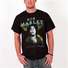 This black Bob Marley Men's Tee features an iconic image of Bob Marley in front of the Jamaican Flag. Bob Marley is printed above with Kingston, Jamaica below.