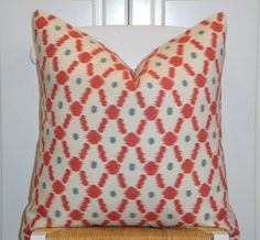 IKAT - BOTH SIDES - 20 x 20 - Decorative Pillow Cover -  Accent Pillow - Throw Pillow - Geometric - Red - Blueish-Grey