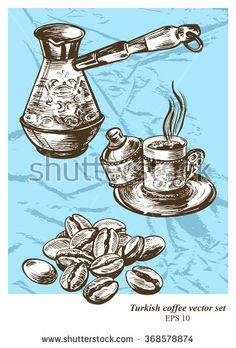 Turkish coffee vector set. Hand drawn illustration. Vintage style.