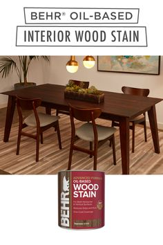 All you need is just one coat of BEHR® Oil-Based Wood Stain to make your dining room table look brand new. Use it for both horizontal and vertical surfaces, and reduce drips and runs. Available in select stores. Click below to learn more.
