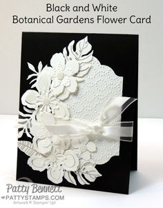 Black and White Stampin UP! Botanical Gardens flower card with Elegant Dots embossed die cut.