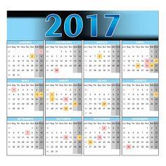 Calendário 2017 Vetorizado Download Grátis em cdr e pdf