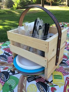 Camping caddy- holds everything you need for the table and you can carry it all in one trip!