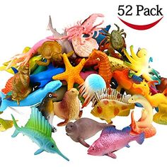 Ocean Sea Animal, 52 Pack Assorted Mini Vinyl Plastic Animal Toy Set, Funcorn Toys Realistic Under The Sea Life Figure Bath Toy for Child Educational Party Cake Cupcake Topper, Octopus Shark Otter in Playsets. Toys For Boys, Kids Toys, Toddler Toys, How To Make Sand, Under The Sea Crafts, Plastic Animals, Bath Toys, Sensory Bins, Sensory Table