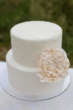 Simple cake, with some sparkle.    Originally from right here http://www.stylemepretty.com/gallery/picture/456369 (couldn't get it to pin!)