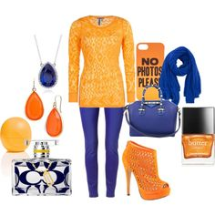 fashion in fall with orange and blue Shoe Bag, Orange, Fall, Blue, Stuff To Buy, Outfits, Shopping, Collection, Design