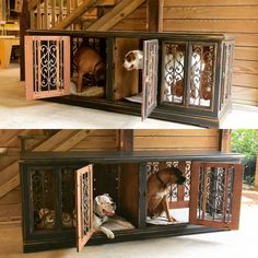 Custom dog kennel, Double Large  design...fits our boxers and looks awesome! $995 check it out www.facebook.com/inthedoghousekenneldesigns.com