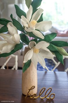 DIY Paper Magnolia Flower - tutorial & template