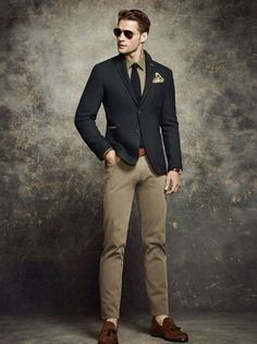 Something as simple as teaming a black wool blazer with tan pants can…