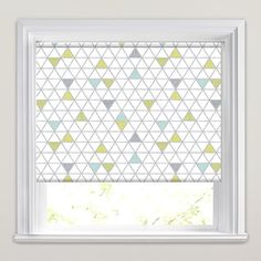 Contemporary Lime, Green, Aquamarine, Grey & White Triangles Patterned Roller Blinds from English Blinds. Green Kitchen Blinds, Teal Kitchen, Green And Grey, Grey And White, Grey Roller Blinds, Triangle Pattern, Contemporary Design, New Homes, Room Decor