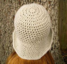 Crochet Hat Womens Hat Crocheted Sun Hat in Cream by pixiebell