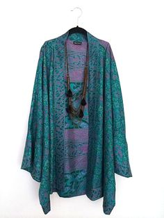 Silk Kimono jacket oversized / cocoon cover up jade green and magenta purple