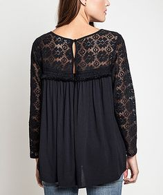 Love this UMGEE U.S.A. Black Lace Babydoll Tunic by UMGEE U.S.A. on #zulily! #zulilyfinds