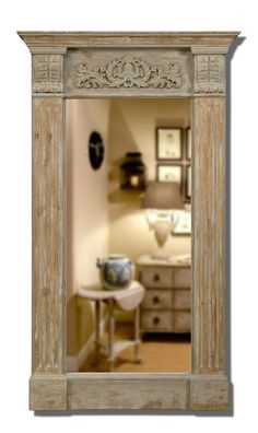 Mirror Pine Frame w/ Antique Gray Finish Large Scrolled Dining Room Ships Free  #MartelleInternational #Traditional