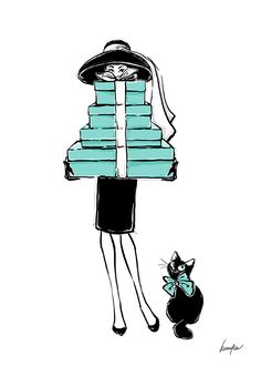 Audrey Hepburn in Breakfast at Tiffany's illustration with cute cat and shopping gift boxes. Tiffany blue home decor fabric panel print T-shirt. Tiffany Girls, Tiffany Art, Tiffany And Co, Tiffany Blue, Breakfast At Tiffany's Poster, Breakfast At Tiffanys, Audrey Hepburn Illustration, Logo Online Shop, Fashion Artwork