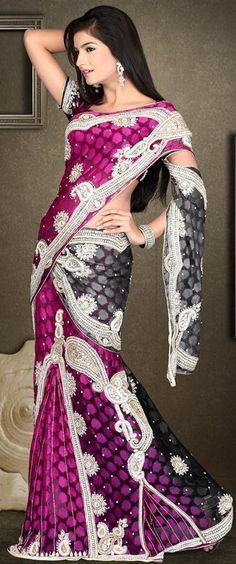 Purple and Black Heavy Work Banarasi Lehenga Saree 21812. Great for sister of the bride.