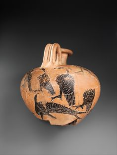 Jug Decorated with Dolphins and Birds  Period:Middle Kingdom or Second Intermediate Period Dynasty:Dynasty 13–15 Date:ca. 1750–1550 B.C. Geography:From Egypt, Memphite Region