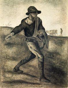 A Sower (after Millet), 1881. jpeg. Vincent van Gogh. Download painting.