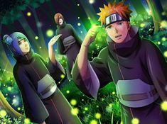 Naruto// Konan, Nagato and Yahiko Naruto Shippuden Sasuke, Naruto Art, Itachi Uchiha, Anime Naruto, Otaku Anime, Wallpaper Naruto Shippuden, Naruto Wallpaper, Konan, Anime Akatsuki