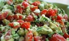 Sounds Delicious! Avocado, Feta, and Tomato Dip  2 hass avocados (diced) 1 cup cherry tomatoes (diced) 1/2 red onion (diced) 3/4 cups crumbled feta cheese 1 tablespoon lemon juice 1 tablespoon red wine vinegar 2 tablespoons fresh chopped parsley