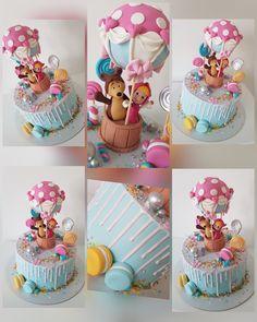 Masha and the Bear - cake by MarinaM Baby First Birthday Cake, 2nd Birthday Party Themes, Happy Birthday Celebration, My Daughter Birthday, Bear Birthday, Masha Cake, Fondant Cake Designs, Bolo Cake, Masha And The Bear