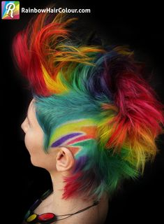 Watch the new video of how I colours Jo's hair, plus lots of photos of both our colourful creations: https://www.rainbowhaircolour.com/the-trade-rainbow-mohawk-for-rainbow-katwise-inspired-dress/ #rainbowhair