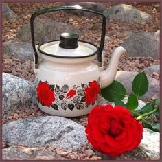 Arabia Finel Finland Enamel Coffee Pot 0 6 L Ruusu Rose by Esteri Tomula Tea Kettles, Chocolate Pots, My Tea, Kitchenware, Finland, Enamel, Porcelain, Coffee, Retro