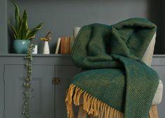 Cedar Green and Mustard Herringbone Throw Velvet Throw Blanket, Green Blanket, Sofa Throw, Throw Cushions, Wool Blanket, Mustard Bedroom, Mustard Bedding, Yellow Sofa, Green Sofa