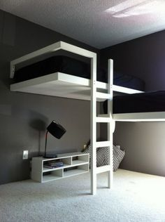 Amazing White Bunk Bed Sets with Stairs in Modern Teenage Bedroom Design Ideas