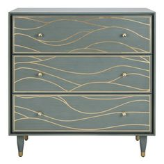 Surround yourself in the luxury of a stylish bedroom with this contemporary antique gold wave chest. Crafted with solid wood, its real gold leaf wave design and posh seafoam hue create a peaceful oasi. Painted Furniture, Diy Furniture, Refurbished Furniture, Repurposed Furniture, Furniture Projects, Accent Chest, Stylish Bedroom, Wave Design, Wood Dust