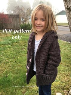 Addie Bear crochet hooded cardigan pattern - sizes through - PDF pattern available on Etsy by Corn on the Monkey Crochet Toddler Sweater, Toddler Cardigan, Crochet Hoodie, Crochet Cardigan Pattern, Crochet Girls, Crochet Jacket, Hooded Cardigan, Crochet For Kids, Crochet Clothes