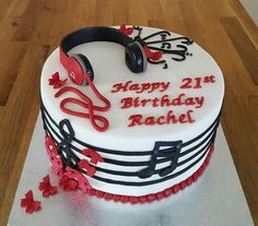 Musical Cake with a headphone cake topper