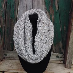 Handmade knitted chunky infinity cowl scarf by LidiaEvansDesigns