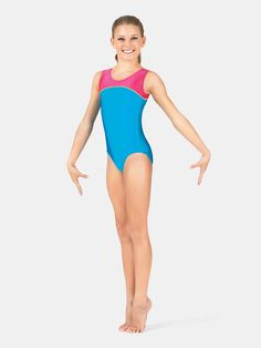 Free Shipping - Child Gymnastics Tank Color Block Leotard by MONDOR