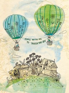 touch the sky green and blue fine art print  by lovelysweetwilliam