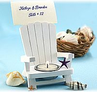 Beach Theme Wedding Guest Favor - put a little beach umbrella on it with the name and table number to serve a double purpose