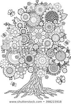 Find Blossom Tree. Vector Elements. Coloring Book For Adult. Doodles For Meditation Stock Vectors and millions of other royalty-free stock photos, illustrations, and vectors in the Shutterstock collection. Thousands of new, high-quality images added every day.