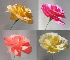 3 Origami Crepe Peony Paper Flowers. $15.00, via Etsy.