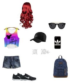 """""""tenue de sport"""" by manon-smack ❤ liked on Polyvore featuring Lucky Brand, NIKE, JanSport, adidas and Smoke & Mirrors"""